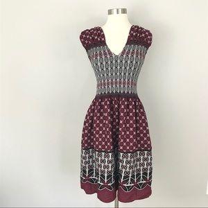 Max Studio Medium Fit Flare Dress Burgundy